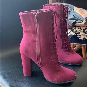 Suede maroon heeled booties